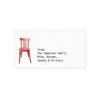 Red Chair Gift Tag Label label