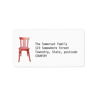 Red Chair green Address Label label