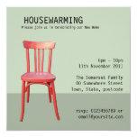 Red Chair green Housewarming Invitation