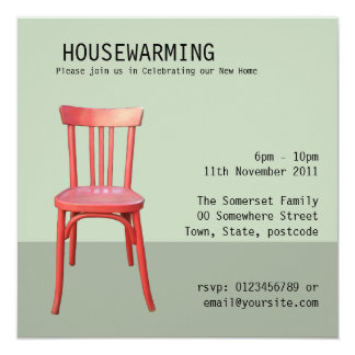 Red Chair green Housewarming Invitation