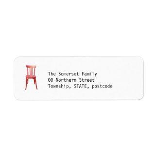 Red Chair Return Address Label label