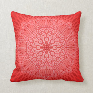 Red Chakra Mandala Pillow with Sacred Geometry