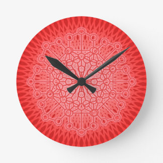 Red Chakra Mandala Sacred Geometry Round Clocks