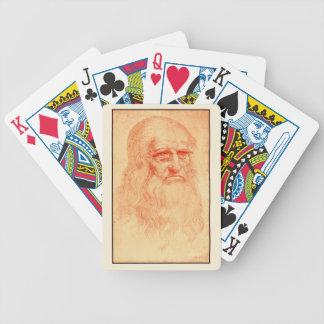Red chalk self portrait of Leonardo da Vinci Bicycle Playing Cards