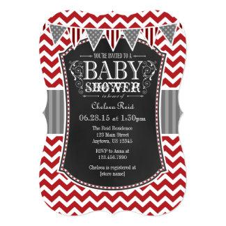 Red Chalkboard Chevron Baby Shower Invite