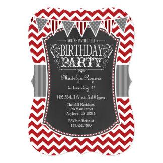 Red Chalkboard Chevron Birthday Invite