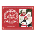 Red Chalkboard Christmas Wreath Photo Card Personalized Announcement