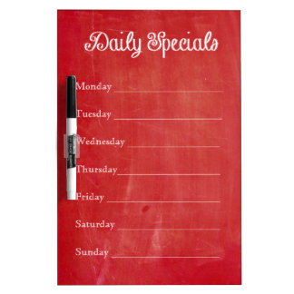 Red Chalkboard Dinner Menu Dry-Erase Whiteboards