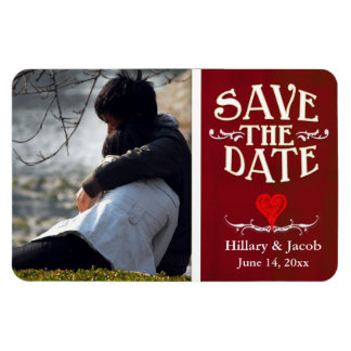 Red chalkboard heart save the date magnet