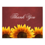 Red Chalkboard Sunflower Wedding Thank You Cards