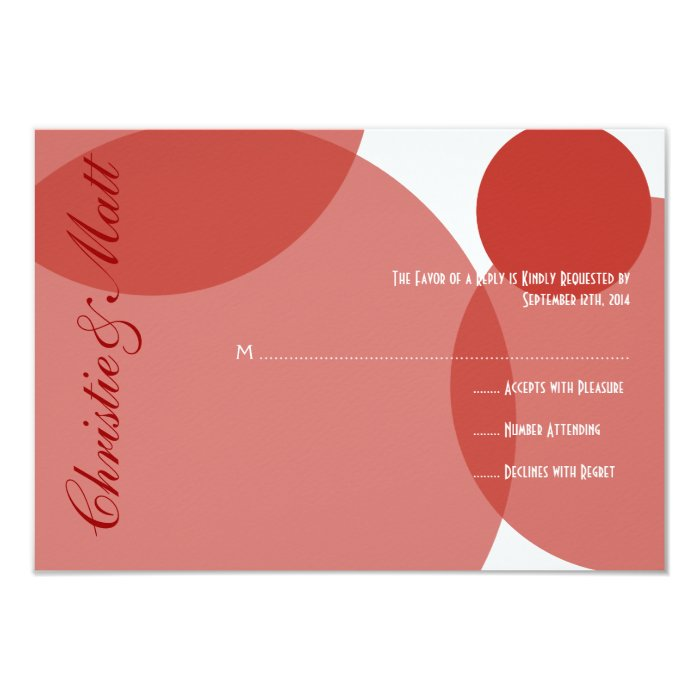 Red Champagne Bubbles Modern Wedding RSVP Card