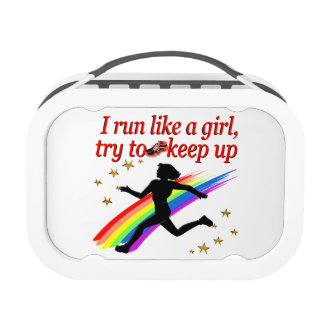 RED CHAMPION GIRL TRACK AND FIELD DESIGN LUNCH BOX