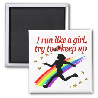 RED CHAMPION GIRL TRACK AND FIELD DESIGN MAGNET