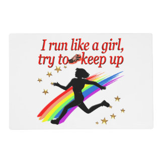 RED CHAMPION GIRL TRACK AND FIELD DESIGN PLACEMAT
