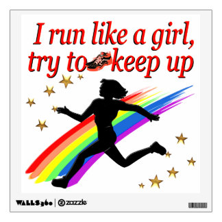 RED CHAMPION GIRL TRACK AND FIELD DESIGN WALL STICKER