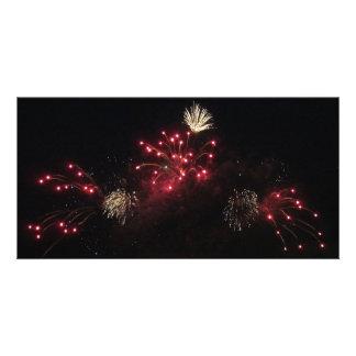 Red chandelier fireworks card