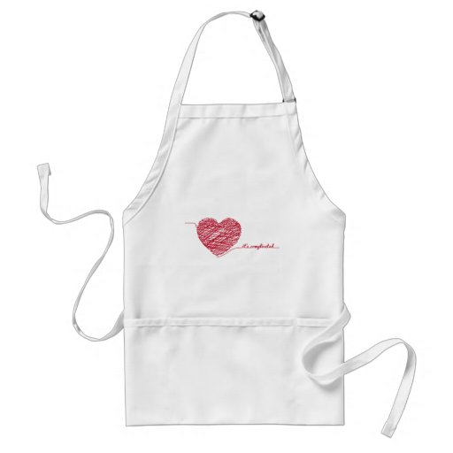 Red chaos heart with text,  it's complicated apron