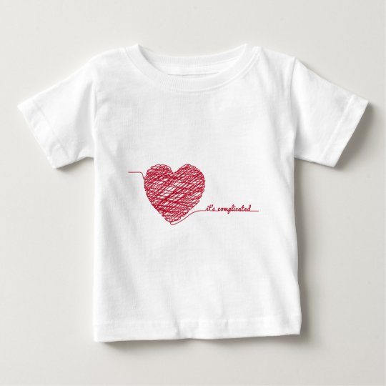 Red chaos heart with text,  it's complicated baby T-Shirt