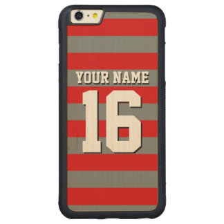 Red Charcoal Team Jersey Preppy Rugby Stripe Carved Maple iPhone 6 Plus Bumper Case