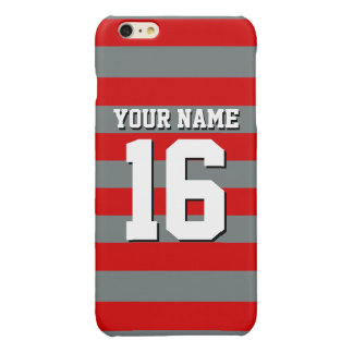 Red Charcoal Team Jersey Preppy Rugby Stripe Glossy iPhone 6 Plus Case