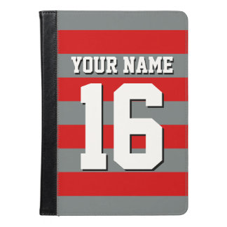 Red Charcoal Team Jersey Preppy Rugby Stripe iPad Air Case