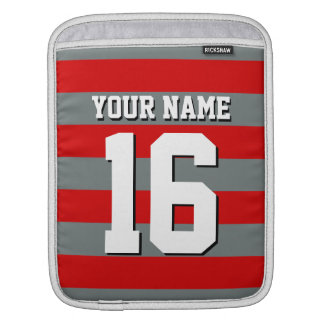 Red Charcoal Team Jersey Preppy Rugby Stripe iPad Sleeve