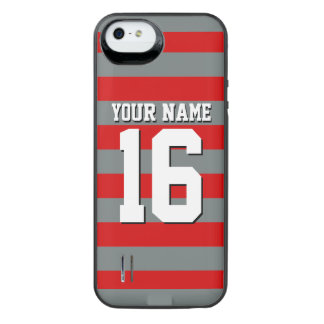 Red Charcoal Team Jersey Preppy Rugby Stripe iPhone SE/5/5s Battery Case