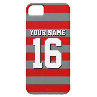 Red Charcoal Team Jersey Preppy Rugby Stripe iPhone SE/5/5s Case