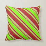 [ Thumbnail: Red, Chartreuse, and Pink Lined Pattern Pillow ]