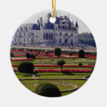 Red Chateau de Chenonceaux, France flowers Double-Sided Ceramic Round Christmas Ornament