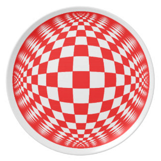 Red Check Ball plate