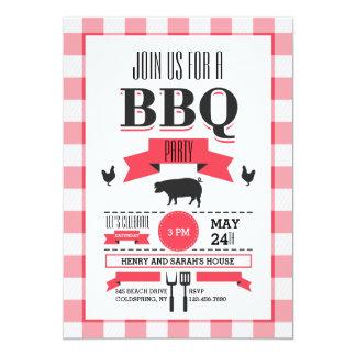 Red Check BBQ Invitation