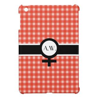 Red Check/Black/White+Female Sign+Your Initials iPad Mini Case