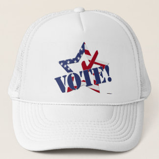 Red Check Blue VOTE with US Flag Star Trucker Hat