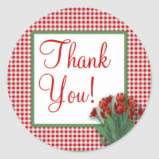 Red Check Country Gingham Tulips Thank You Round Classic Round Sticker