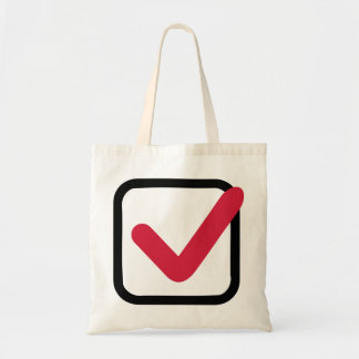 Red check mark tote bag