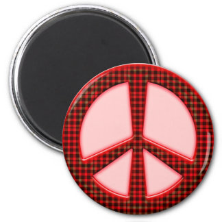 RED CHECK PATTERN PEACE SIGN FRIDGE MAGNET