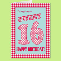 Red Check Polkas Sweet 16th Birthday for Cousin Card