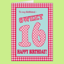 Red Check Polkas Sweet 16th Birthday Girlfriend Card