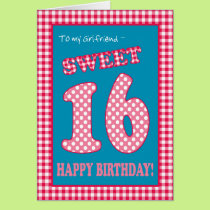 Red Check Polkas Sweet 16th Birthday, Girlfriend Card