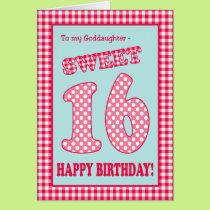 Red Check Polkas Sweet 16th Birthday Goddaughter Card