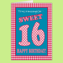 Red Check Polkas Sweet 16th Birthday Granddaughter Card