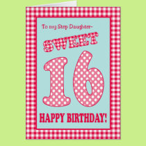 Red Check Polkas Sweet 16th Birthday Stepdaughter Card