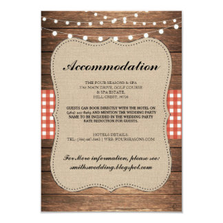 Red Check Rustic Accommodation Wood Wedding Cards