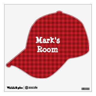 Red Checked Baseball Cap Wall Sticker