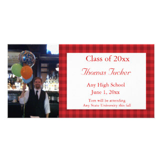 Red Checked Graduation Photo Card