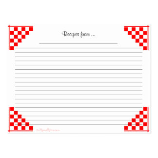 Red Checked Ruled Recipe Card Kitchen Equivalents
