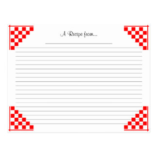 Red Checked Ruled Recipe Card with Equivalents