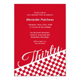 Red Checker Pattern 30th Birthday Party Invitation