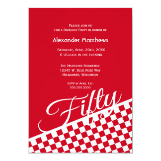 Red Checker Pattern 50th Birthday Party Invitation